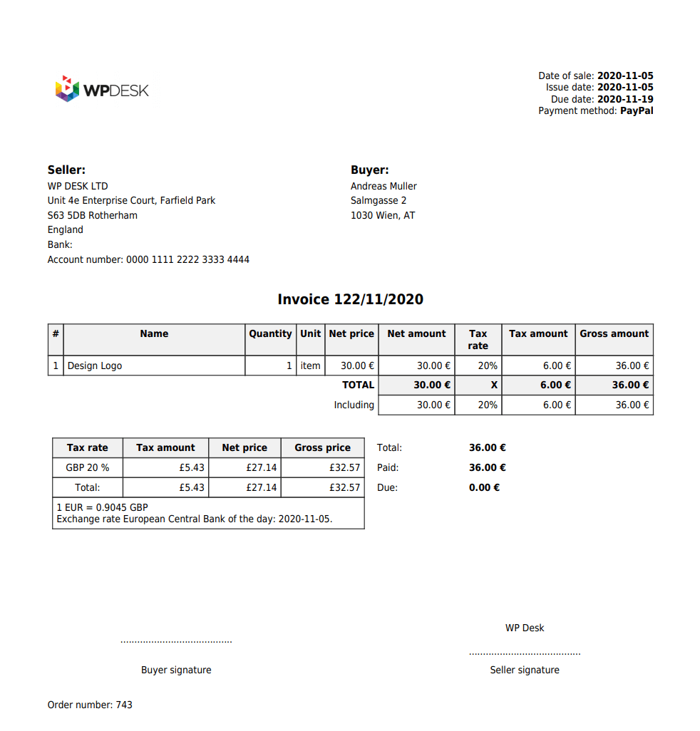 Flexible Invoices Woocommerce Vat Invoice Moss