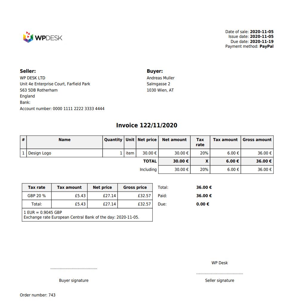 Flexible Invoices Woocommerce Vat Invoice OSS MOSS