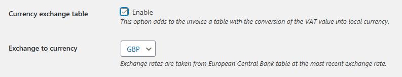 Currency Exchange Table Settings
