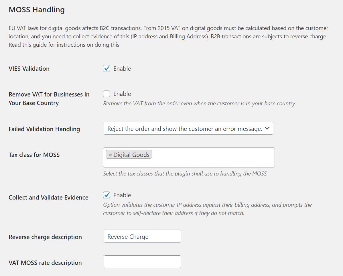 Flexible Invoices Woocommerce OSS MOSS Handling