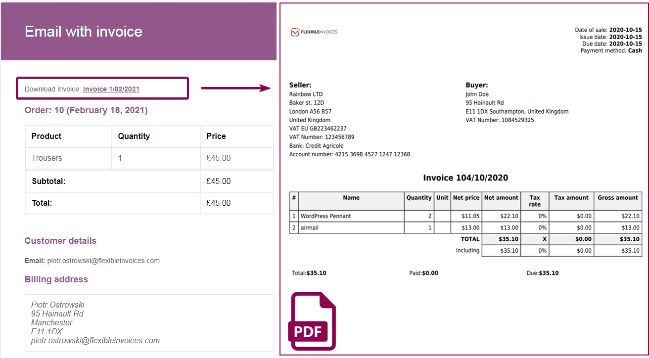 Flexible Invoices Customer Email
