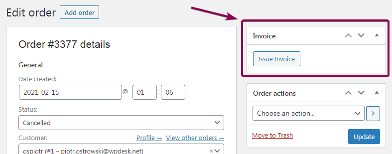 Flexible Invoices Issue Order Page