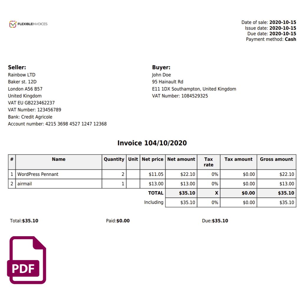 Flexible Invoices Pdf