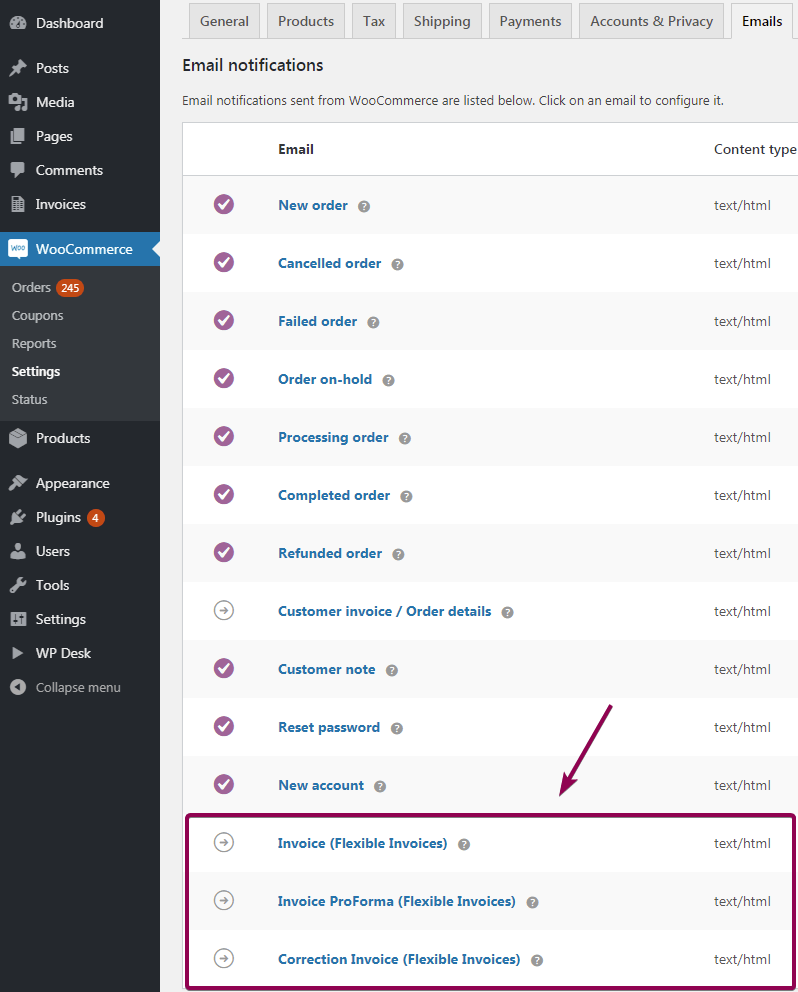 Flexible Invoices Woocommerce Emails