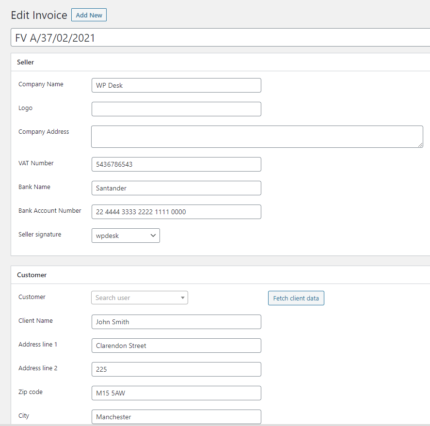 Add product to invoice In Woocommerce