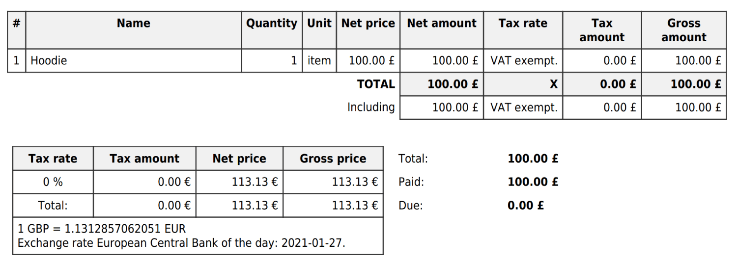 Currency exchange table for invoices