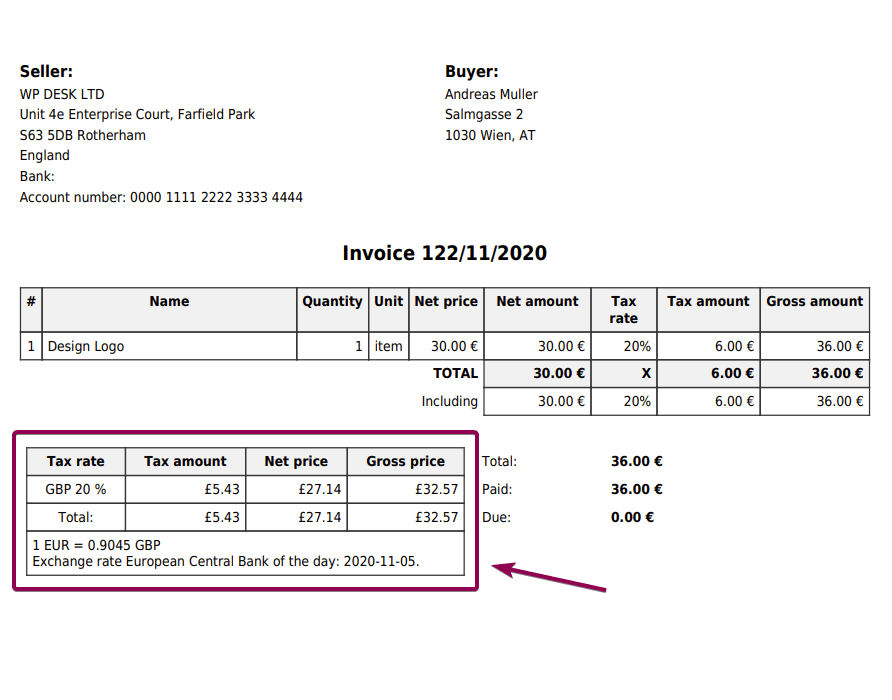 Flexible Invoices Currency Exchange Conversion Table