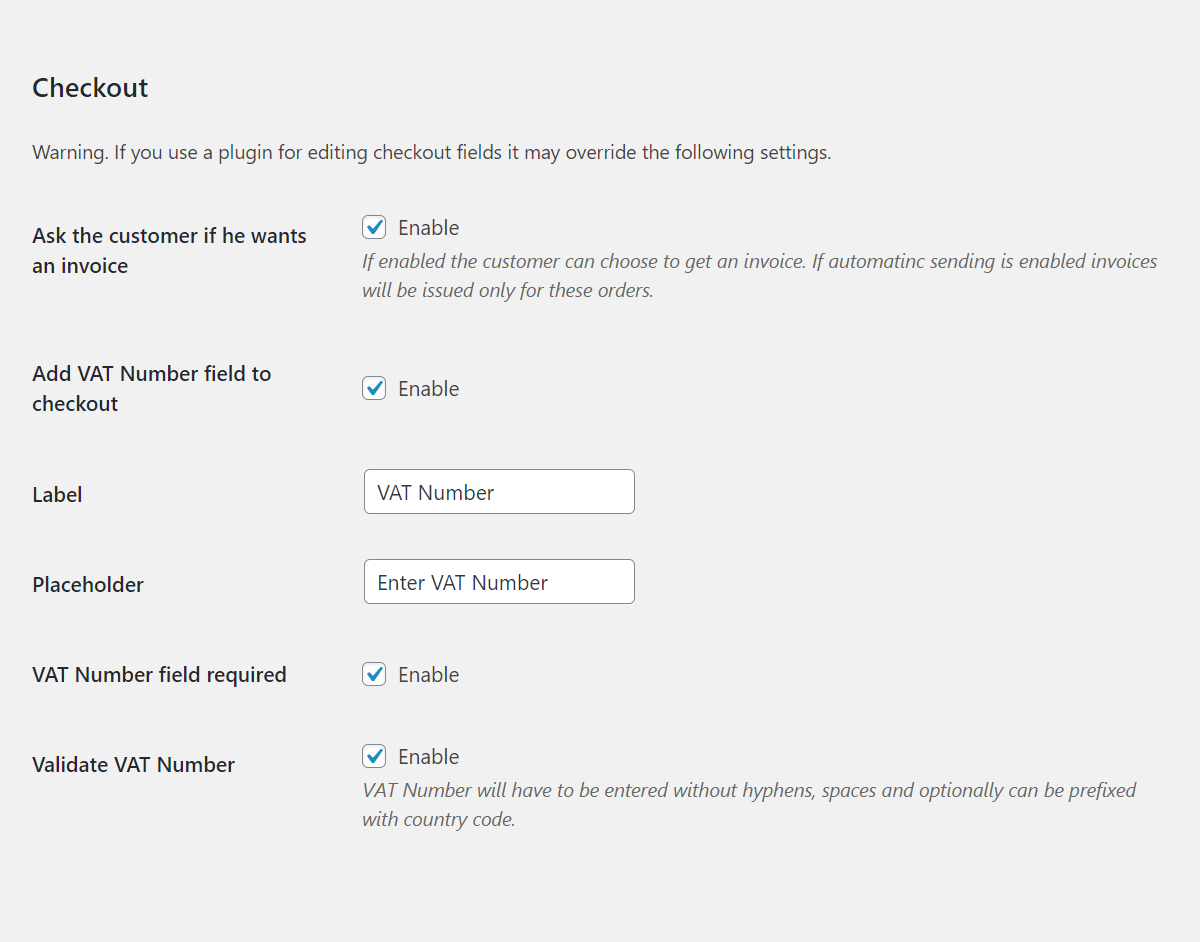 Flexible Invoices Woocommerce Checkout Settings