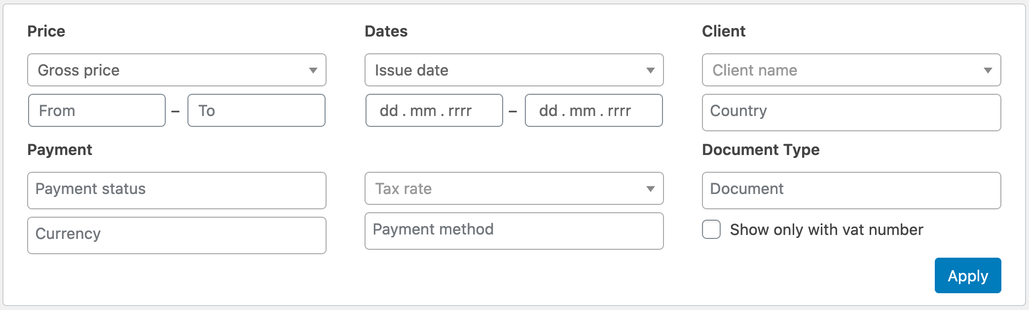 Flexible Invoices Advanced Filters