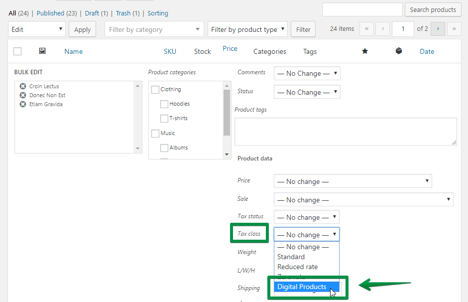 Bulk Edit Vat Tax Class How To Add It To More Woocommerce Products At Once