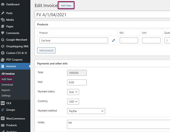 Add New Invoice Woocommerce