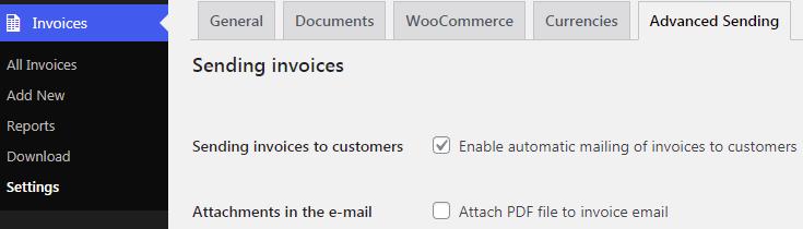 Flexible Invoices Advanced Sending Settings