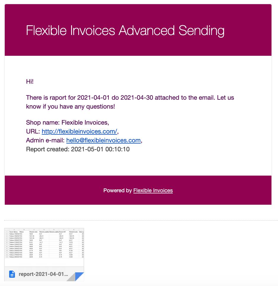 Flexible Invoices Advanced Sending