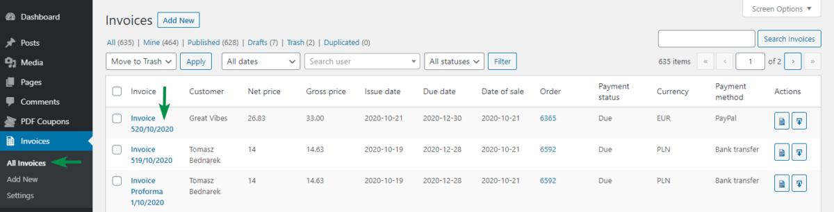 Proforma Invoices in WooCommerce - Invoice list
