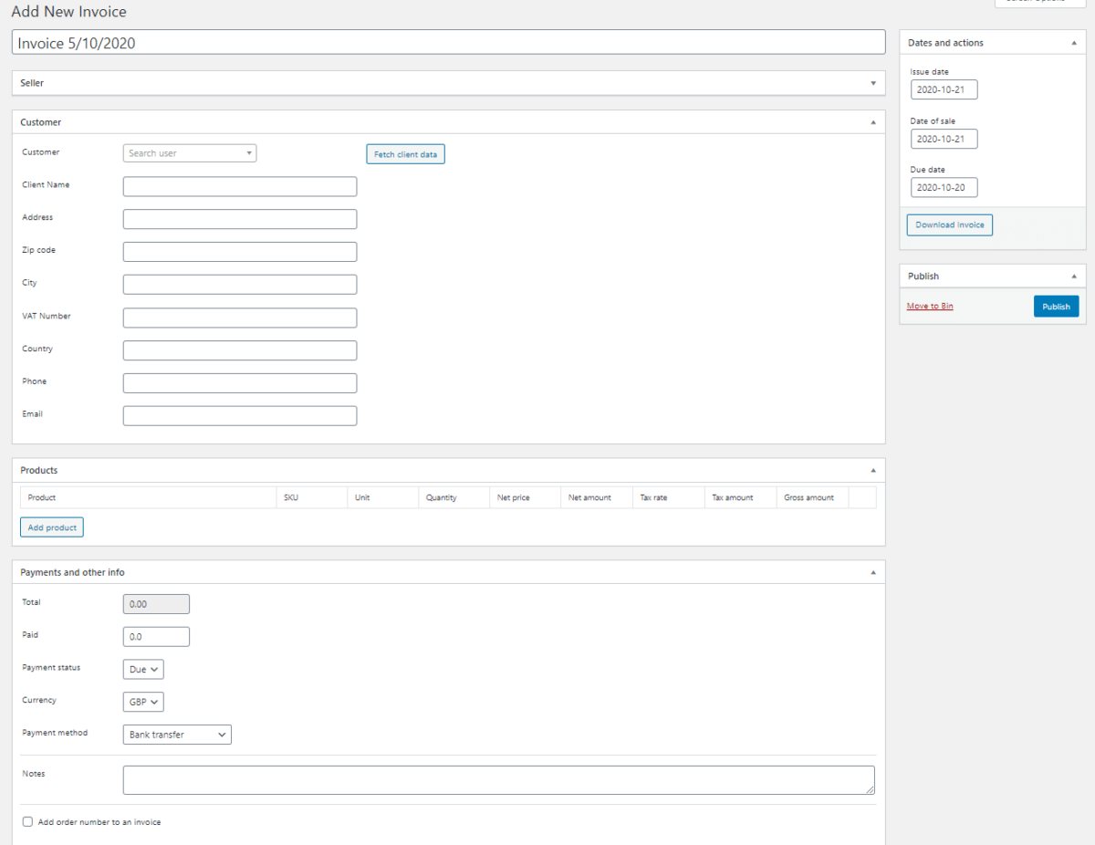 Proforma Invoice in WooCommerce - Manual Issuing