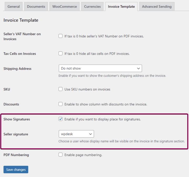WooCommerce invoice customization Seller Signature