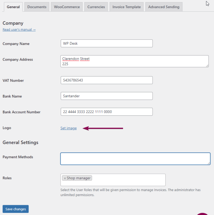 WooCommerce invoice customization Set Image