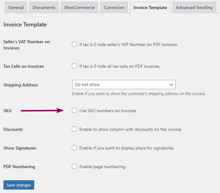 WooCommerce invoice customization Sku Number