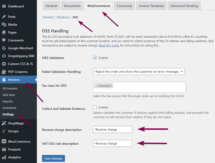 Tax Settings In Woocommerce Reverse Charge